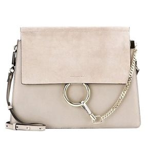 Like New Gray circle chain suede flap cross body